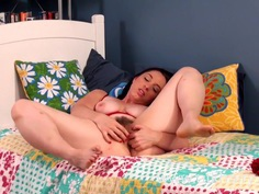 Kara Mistress rubs and fingers her hairy pussy