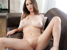 Big tit brunette tries her hand at the business