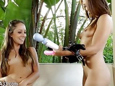 Lesbian girl experiences with anal dildos