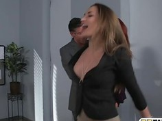 Busty office babe asshole pounded by hard man meat