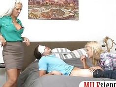 Two lusty blonde women fucked on turns in the bedroom