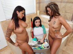 Spying on a couple gets her in a steamy threesome