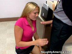 Sweet teen gal Alanah Rae giving blowjob to her teacher