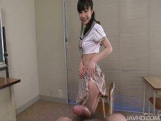 Shiny jap slut  Mizutama Remon blows cock on POV video