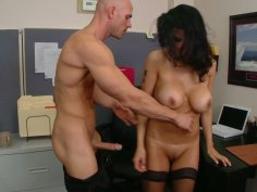Horny MILF slut Shay Sights fucks at the working desk