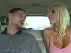 Street slut Puma Swede gives blowjob in the car