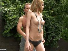Svelte blonde hoe Angel Hott sucks tiny dick on her knees
