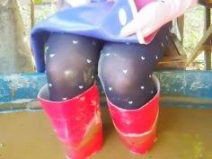 Happy boots polishing