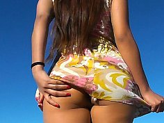 Argentinian girl showing everything, outside