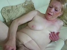 OldNanny Old Mature with big dildo masturbate