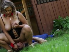 Blonde Plumper Sitting On Stud Face Outdoors