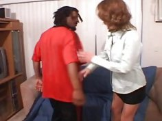 Desperate mom with fake tits invited big black cock for casual porn sex