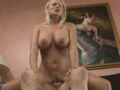 Voracious blonde slut Juliana Jolene is riding dick frantically