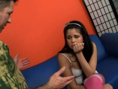 Dirty teen chick Cali Rider flashes her tits and gives a rimjob to her man John Strong