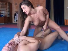 Ballbusting Catty Heaven play with pervert's cock and balls