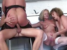 Three matures fucked hard by just one young cock