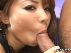 Teen cutie Mimi Kousaka blowing a dick to show off on cam