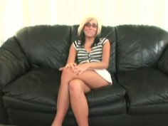 Ugly white skank Blanche agrees to give a blowjob for POV video