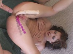 Hefty asshole of red-haired slut Renee Pornero gets fucked both with massive dick and dildo
