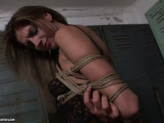 Seductive and kinky bitches Kathia Nobili and Bambi play dirty games in a locker room