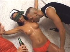 Veronika Jane gets fucked with two dudes