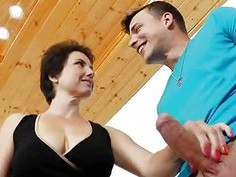 Mature giving handjob