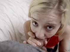 Cute blonde teen knows what to do with large dick