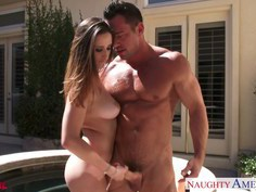 Ashley Adams getting some jizz on her naturals