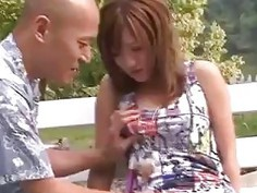 Horny Japanese model gets her tight twat pumped in a public park