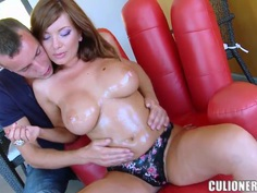 Big tits Donna Bell suck on a huge monster cock