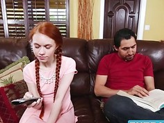 Petite redhead teen Dolly Little gags on Largos big cock