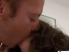 Spunky Brunette Amy White Rides Rocco's Dick Until She Cums