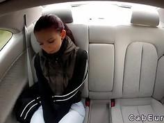 Czech babe wanks in fake taxi in public