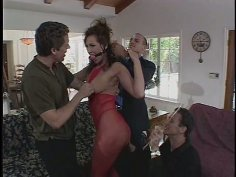 Voracious brunette Mandy Bright gangbanged by three guys