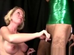 Real Amateur Femdom Milking Submissive Cock